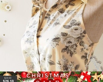 Christmas SALE SALE Pale Brown Dress Tea Party Dress Floral Dress Floral Summer Dress Floral Bridesmaid Dress Shirt Vintage Inspired Sund...