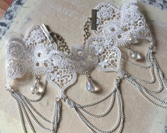 Clearance SALE Elegant Lace Choker Victorian Gatsby Victorian White Lace Crystal  Bead Choker Wedding Jewelry Necklace