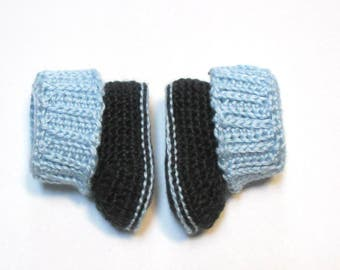 NEW!  Ready to ship 3-6 month baby boy booties.  Knit look crochet baby booties.  Baby boy booties.