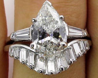 Mid-Century 2.44ct Estate Vintage PEAR Shaped Diamond Engagement 14k WG Ring, Wedding Set
