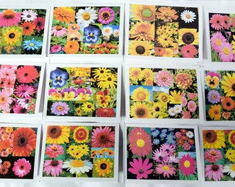 Summer Painted Collage of Blooms - Notecards