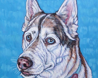"Custom Pet Portrait Painting on Canvas 12"" x 12"" in Acrylic of One Dog, Cat, Rabbit, Horse,  Etc. Pet Lover Christmas Gift Husky Sample"