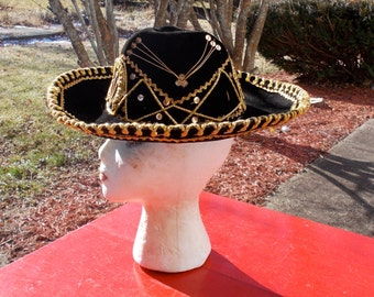 Vintage Mexican  Style Mariachi Sombrero Hat Black Velvet Gold Embroidery Costume Wall Decor