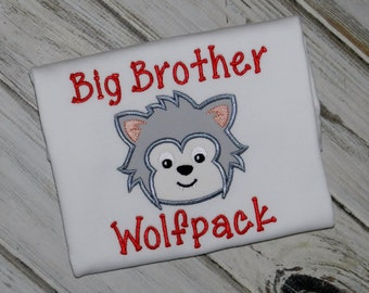 Big or Little Brother Wolf Shirt / Personalized / Wolfpack / Sports Fan
