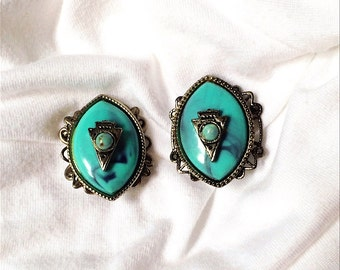 Faux Turquoise Clip On Earrings