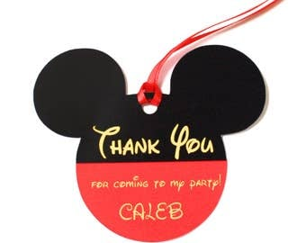 Set of 12 Personalized Mickey Mouse Ears Thank You Party Favor Tags, Happy Birthday Party, Micky Mouse Ears, Party Decorations