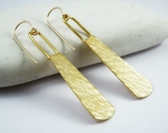 Hammered long earrings Gold hammered statement earrings Bohemian gold long earrings
