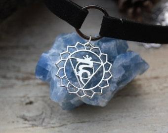 THROAT CHAKRA CHOKER-Chakra Necklace- Necklace- Chakra symbols- Yoga- Spiritual- Crystals- Reiki Necklace- Chakra Jewellery- Gift