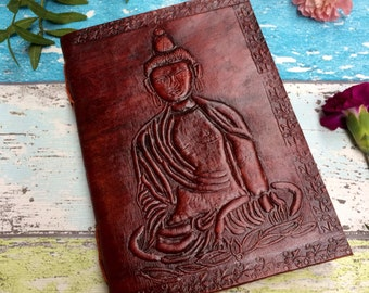 BUDDHA JOURNAL - Leather Journal - Embossed Journal - Student - Leather Notebook - Sketch book - Handmade - Vintage leather - Boho