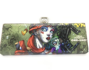 Upcycled - Comic Book- Harley Quinn - Vintage Glasses Case - Clutch - Fashion - Comic Con - Suicide Squad - Dr Harleen Quinzel - Arkham