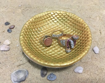 Mermaid Ring Dish - Sculpted Clay - Decor - Mermaid Scales - Glow in the Dark - Gold