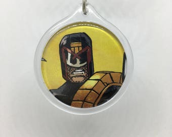 Upcycled Comic Book Keychain Featuring - Judge Dredd