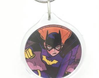 Upcycled Comic Book Keychain Featuring - Batgirl
