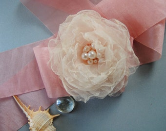 Wedding Wrist Corsage, Pink Bridal Corsage, Fabric Corsage, bridesmaids flower, Bridal Accessory, Corsage, Bracelet, wedding accessories