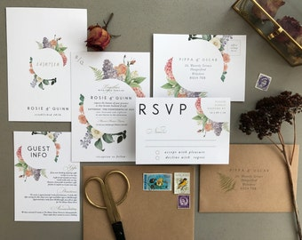 BOTANICAL FLORA | Rustic Wedding Invitations, Wedding Invites, Wedding Invite, Blush and Rose Wedding Invitation Rustic - Sample Set