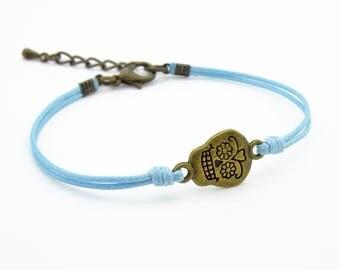 Sugar Skull Bracelet, Light Blue Cord Bracelet,  Skull Jewelry, Waxed Cord Bracelet