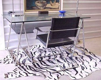 Mid Century Modern Architect's Chair, Chrome, Sling, Folding, Rocks, Cable Linked Base, Awesome!