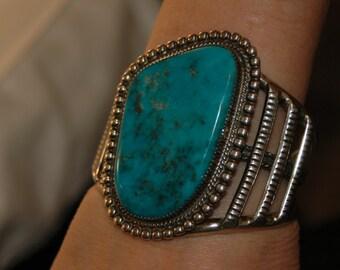 "Huge Gorgeous Vintage Navajo Garrison Boyd Morenci Turquoise Bracelet 2 3/4"" Tall 113 Grams"