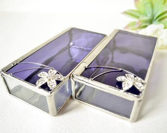 Set Of Two Purple Glass Boxes, Glass Box, Glass Display Box, Glass Jewelry Box, Jewelry Box, Gift For Girlfriend, Bridesmaid Gift