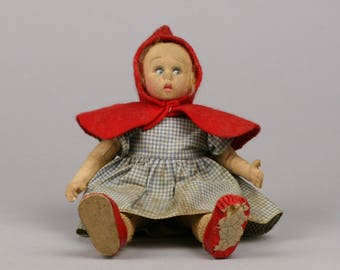 Red Riding Hood Doll, Lenci Like Felt or Fabric Doll, Great Expression on her Face, Needs TLC and a Loving and Home Far from Wolf