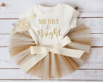 "Baby Christmas Outfit ""Esme"" merry and bright Christmas tutu set gold Christmas outfit baby girl Christmas tutu outfit first Christmas tutu"
