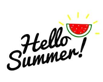 SVG - Hello Summer - Watermelon - Summer - Tshirt SVG - Garden Flag svg