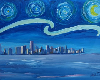 Starry Night in Miami - Van Gogh Inspirations with Skyline Silhouette at Sunset Florida - Limited Edition Fine Art Print / Original Painting