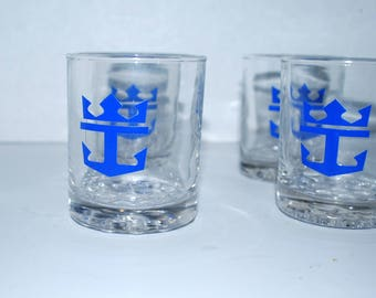 Vintage Royal Caribbean cocktail glasses  nautical theme   gift for sailor vintage barware