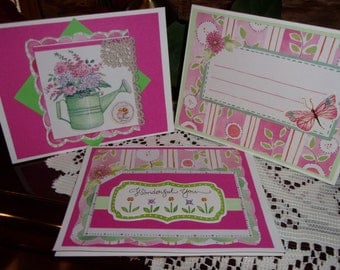 Pink flower cards, set of 3 cards, small note cards, blank cards, handmade cards, green, pink, flowers, original cards, ArtFromTheCabin