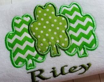Applique Shamrock machine embroidery instant download design file, Trio Shamrock design, Three Shamrocks, St. Patricks day appliqué design