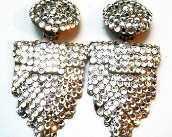 "Designer Statement Clip On Earrings Signed Richard Kerr Clear Ice Rhinestones BIG 3"" Vintage"