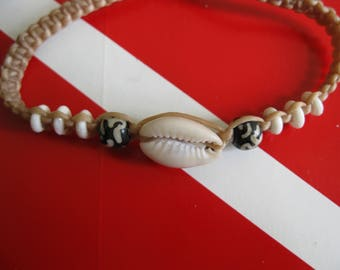 Cowry / Cowrie Sea Shell Bracelet or Anklet, Adjustable Hemp cord, Fits both Adults and children, A great party favor too
