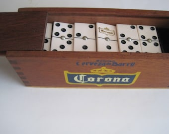 Vintage CORONA Cerveza - Barril Beer DOMINOES With 28 Spinners