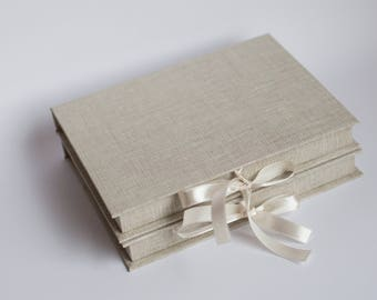 Special order to Mariana. Natural linen color CD / DVD boxes for 15x20 cm. photos to keep. Set of 5
