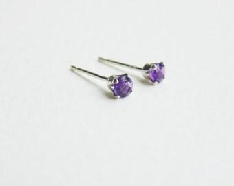 Tiny 3mm purple amethyst faceted gemstone sterling silver studs earrings