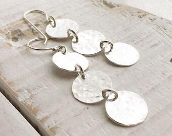 Gold Triple Disc Earrings - Handmade Earrings - Everyday Wear - Available in silver.