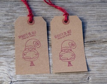 Set Of 10 Christmas Santa Naghty Or Nice Hand Stamped Paper Tags