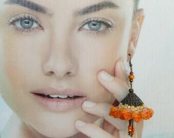 Statement flower earrings, Large crochet colorful earrings, Chandelier bold earrings, Big boho earrings, Delicate floral Dangle orange brown