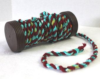 7 1/2 Feet of Handmade Boho Twisted Fabric Cord and Wooden Spool Aqua and Dark Red Fiber Art Jewelry Supplies