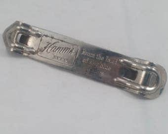 Vintage Hamm's The the land of sky blue waters Church Key, Bottle Opener, Breweriana, Barware - Theo Hamm Brg Co CMI App Mod Vaughan USA 58
