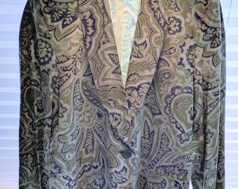 80s ESCADA by MAGARETHA LEY Paisley Print Single Button Silk Blazer 'Made in W. Germany'