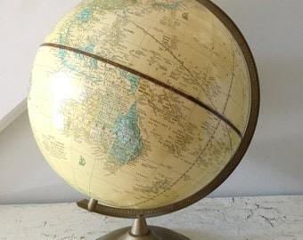 Vintage Globe Crams Imperial Tan World Globe Metal Stand