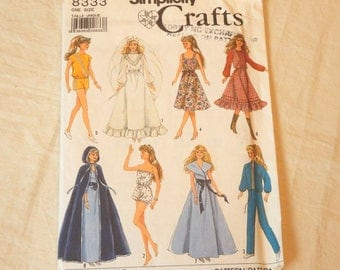 Uncut Simplicity Crafts 8333 Barbie Doll Clothes Wardrobe Sewing Pattern 1987