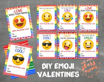 Emoji Faces - Set of 6 Kid's Classroom Valentine Cards | Instant Download | Coordinating Backing Pattern Included