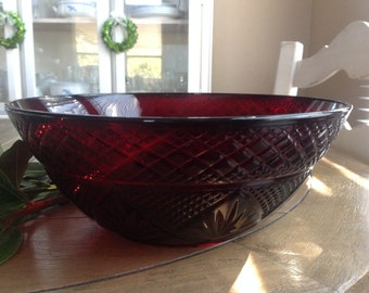 """Antique Ruby by Cristal D'Arques Large Salad// Serving  Bowl 10 1/4"""" in Diameter Pretty Pressed Glass Pattern"""