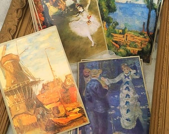 Impressionists greeting cards, impressionists ephemera, Renoir, Monet, Degas & Cezanne Greeting cards (16 cards)