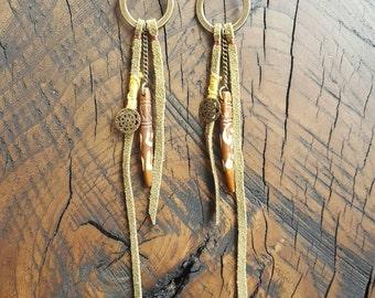 Metal Hoop Leather Fringe Carved Bone Earrings
