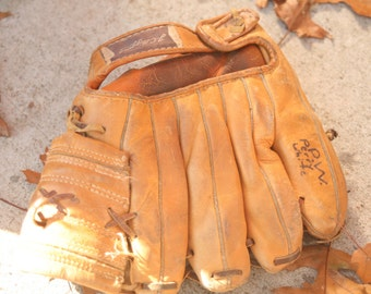 Vintage 1960s Baseball Mitt, Baseball Collectible, Baseball Glove, JC Higgins Baseball Glove