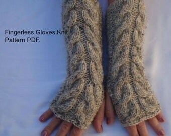 Fingerless Gloves.Mitts.Knitting Pattern PDF. 3Sizes,2 Length.Wool Cable Wrist/Arm Warmers PDF.