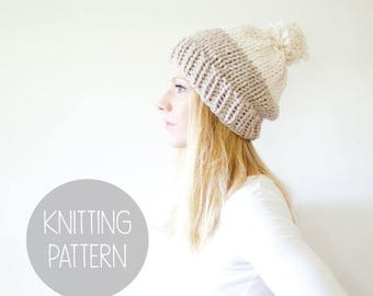 FLASH SALE knitting pattern - easy knit hat one hour knit hat - solomon color blocked hat